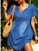 Solid Shift Short Sleeves Mini Denim Casual Dresses