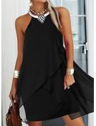 Solid Shift Sleeveless Midi Little Black Casual Dresses