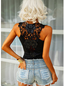 Lace Solid Round Neck Sleeveless Sexy Tank Tops