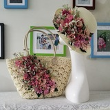 Bride Gifts - Fascinating Silk Raffia Straw Tote Bag Straw Hat