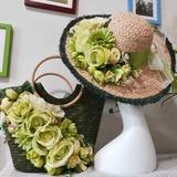 Невеста Подарки - нежный шелковые плетеная соломы Затем Ваг соломенная шляпа