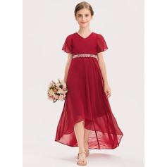 A-Line V-neck Asymmetrical Chiffon Junior Bridesmaid Dress With Beading