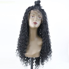 Curly Syntetisk Lace Front Parykar (219179126)
