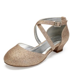 Girl's Round Toe Closed Toe Mary Jane Sparkling Glitter Chunky Heel Flower Girl Shoes With Rhinestone Sparkling Glitter