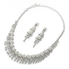 Lindo Liga/Pérola/Strass Senhoras Conjuntos de jóias