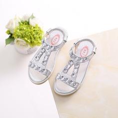 Mädchens Peep Toe Leder Flache Ferse Sandalen Flache Schuhe Blumenmädchen Schuhe mit Strass