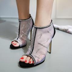 De mujer Ante Encaje Tacón stilettos Botas Encaje Botas al tobillo con Cremallera Cadena zapatos