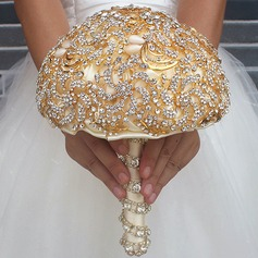 Round Satin Bridal Bouquets/Bridesmaid Bouquets (Sold in a single piece) -