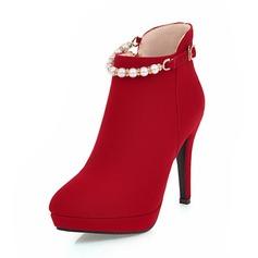 Kvinnor Mocka Stilettklack Pumps Plattform Stängt Toe Stövlar Boots med Oäkta Pearl Zipper Kedja skor