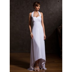 Empire Halter Asymmetrical Chiffon Mother of the Bride Dress With Ruffle Beading