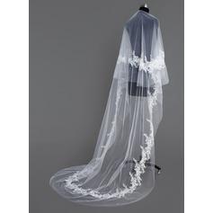 Uma camada Catedral véus de noivas com Corte da borda