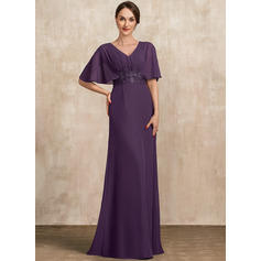 A-Line V-neck Floor-Length Chiffon Evening Dress With Lace Sequins (017228612)
