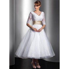 Ball-Gown V-neck Tea-Length Tulle Wedding Dress With Sash Beading Appliques Lace
