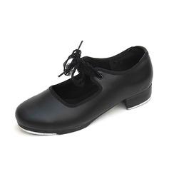 Mulheres Crianças Couro Sem salto Sapateado Sapatos de dança