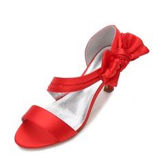 Kvinder silke lignende satin Stiletto Hæl Kigge Tå Pumps sandaler med Bowknot