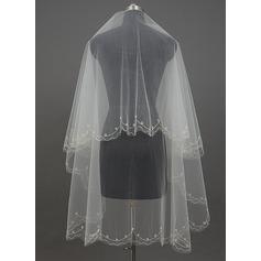 Uno capa Corte de borde Velos de novia vals con La perla de faux