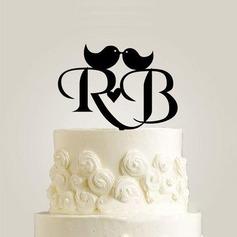 Personlig Brud & Brudgom Initialer Akryl/Wood Kake Topper