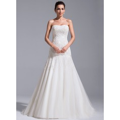 Vestidos princesa/ Formato A Coração Cauda de sereia Tule Renda Vestido de noiva