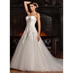 Платье для Балла В виде сердца Церемониальный шлейф Тюль кружева Свадебные Платье
