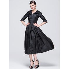 A-linjeformat V-ringning Tea-lång Taft Festklänning med Rufsar