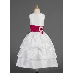 A-Linie/Princess-Linie Wadenlang Blumenmädchenkleid - Taft Ärmellos U-Ausschnitt mit Rüschen/Schleifenbänder/Stoffgürtel/Blumen/Suchen Up Skirt