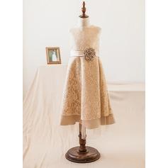 Forme Princesse Longueur mollet Robes à Fleurs pour Filles - Satiné/Dentelle Sans manches Col rond avec Fleur(s)