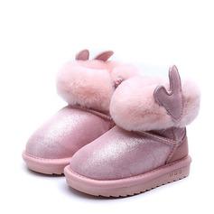 девичий Закрытый мыс Зимние сапоги Настоящая кожа Плоский каблук Ботинки с Застежка-молния