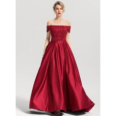 Duchesse-Linie Off-the-Schulter Sweep/Pinsel zug Satin Abiballkleid mit Perlstickerei Pailletten