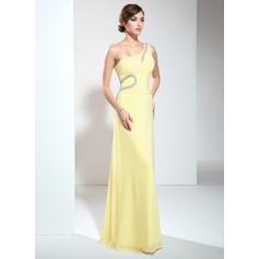 A-Linie/Princess-Linie One-Shoulder-Träger Bodenlang Chiffon Abendkleid mit Rüschen Perlen verziert (017002610)