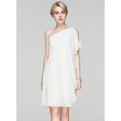 Jakke One-Shoulder Knælængde Chiffon Cocktailkjole med Flæsekanter (016094382)