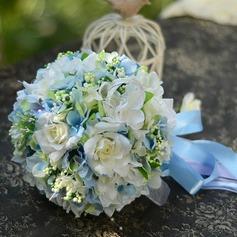 Delicate Round Satin Bridal Bouquets (124032159)