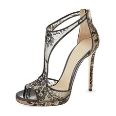 Women's Lace Stiletto Heel Sandals Pumps With Hollow-out shoes (085209447)