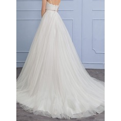 Chapel Train Tulle Wedding Dress