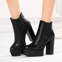 Women's PU Chunky Heel Pumps Platform Boots Ankle Boots With Zipper Elastic Band shoes