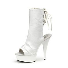 Kvinnor PVC Stilettklack Pumps Plattform Stövlar Peep Toe Slingbacks Halva Vaden Stövlar med Bandage skor