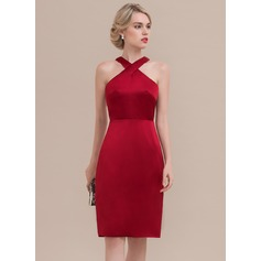 Sheath/Column Knee-Length Satin Homecoming Dress