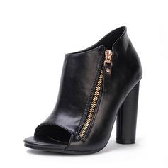 Frauen PU Stämmiger Absatz Absatzschuhe Stiefel Peep Toe Stiefelette mit Reißverschluss Schuhe
