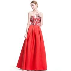 Vestidos princesa/ Formato A Amada Longos Cetim Vestido de festa com Beading lantejoulas