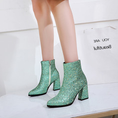 Sparkling Glitter Chunky Heel Flats Wedges Slippers Riding Boots With Sparkling Glitter Zipper shoes