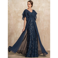 Sheath/Column V-neck Floor-Length Chiffon Lace Evening Dress With Ruffle Sequins (017228607)