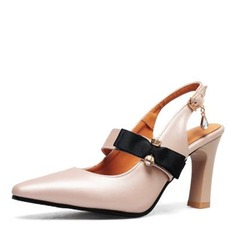 Women's Leatherette Chunky Heel Pumps Closed Toe Slingbacks With Bowknot shoes