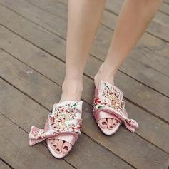 Mulheres Cetim Sem salto Sem salto Peep toe Sapatos abertos Chinelos com Laço de cetim sapatos