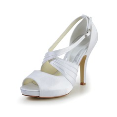 Women's Satin Spool Heel Peep Toe Platform