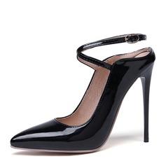 Mulheres Couro Brilhante Salto agulha Bombas Sapatos abertos sapatos