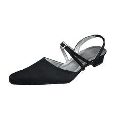 Vrouwen Satijn Low Heel Closed Toe Slingbacks met Gesp