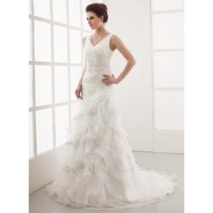 Forme Princesse Col V Traîne moyenne Organza Robe de mariée avec Emperler Motifs appliqués Dentelle Robe à volants