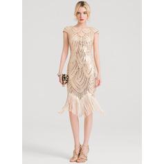 Sheath/Column Scoop Neck Knee-Length Sequined Cocktail Dress (016150195)