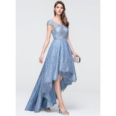 A-Line V-neck Asymmetrical Tulle Lace Evening Dress