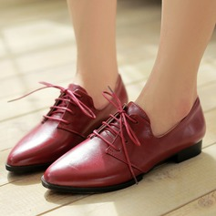 Women's PU Flat Heel Flats Platform With Lace-up shoes