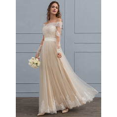 A-Line/Princess Off-the-Shoulder Floor-Length Tulle Lace Wedding Dress (002119805)